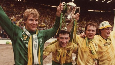 Norwich celebrations after winning the Milk Cup Final with a 1-0 win over Sunderland in 1985.