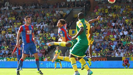 Cameron Jerome puts the ball in the net but the goal is disallowed for a high foot by referee Simon