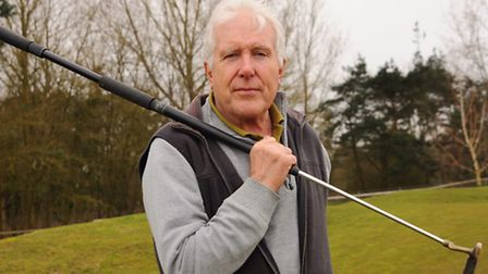 One-armed golfer Bob Payne, with his extended putter which new rules from the golfing governing body