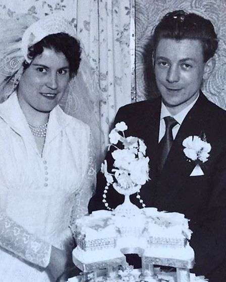 Frank and Brenda Watson on their wedding day at St Augustine's Church, Norwich.