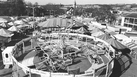 A panoramic view of Norwich Fair from the top of the helter-skelter in April 1979.