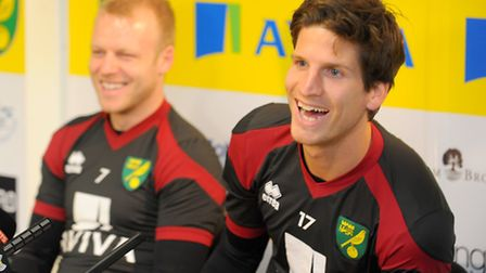 Timm Klose and, left, Steven Naismith on their unveiling to the media in January. Photo: STEVE ADAMS