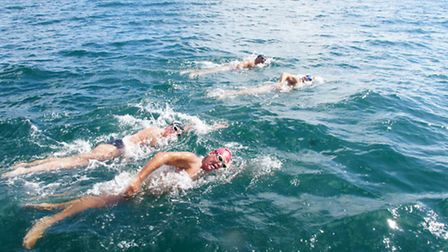 Tracy Clark with fellow swimmers on the Robben Island swim.