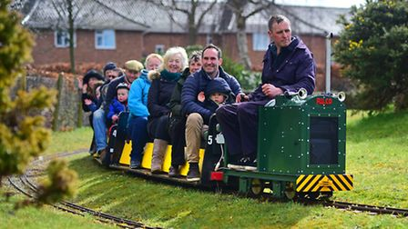 Eaton Park Miniture Railway. Mike Richards driving the new locomotive on its first outing. Mike also