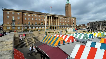 City Hall and Norwich Market. Picture: Denise Bradley