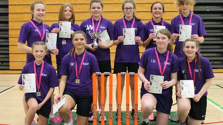 Flegg High School, winners of the under-15 county title in the Lady Taverners schools competition.