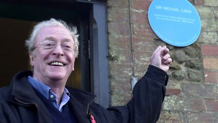 Flashback to 2003 - A delighted Sir Michael Caine with the Blue Plaque he unveiled outside the schoo