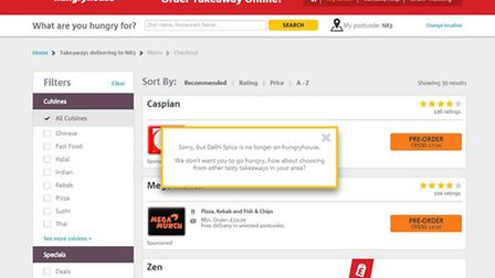 Dehli Spice investigation. Picture: Screen grab from hungryhouse.co.uk - Delhi Spice NO LONGER LISTE