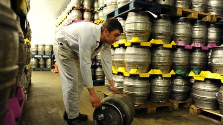 Woodforde's Brewery in the broadland village of Woodbastwick.Casks in the cold room.March 2014Pictur