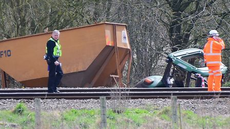 The tractor which was hit by the train at the level crossing. PHOTO BY SIMON FINLAY