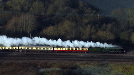 An aerial view of the Flying Scotsman near Hatfield on its inaugural run from London to York after a