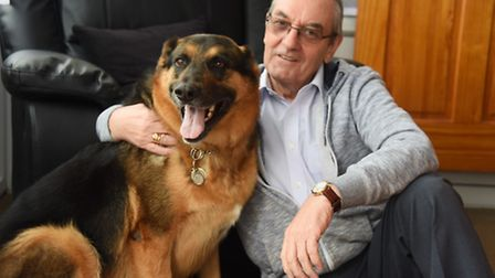 Ted Bateman at home at Thetford with Jax his Alsatian cross. Widower Ted has appeared on the Channel