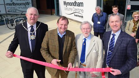 The newly refurbished Wymondham Leisure Centre which has been officially reopened by(l to r) SNDC ch