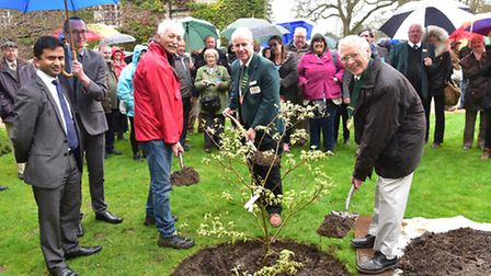 Anglia In Bloom is launched at Bressingham with the help of Adrian Bloom.With the spades l-r: Adrian