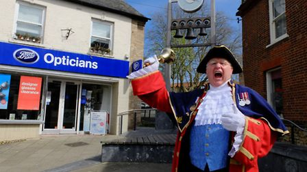Mike Wabe, Thetford town crier, giving a proclamation for Queen Elizabeth II's 90th birthday.
