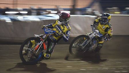 Chris Harris, right, in action at King's Lynn earlier this month for Coventry. Picture: IAN BURT