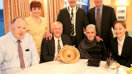 Les King's family and friends accepted a civic award in his honour at the Wymondham Dell.Back row, f