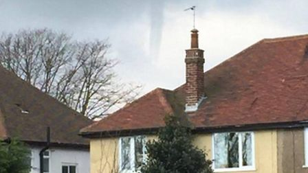 A photo of what could be a funnel cloud above Great Yarmouth last Friday. Photo: Supplied