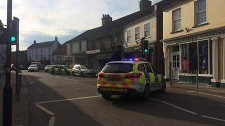 The accident scene in Holt on Friday, where a pedestrian was injured by a car. Photo: Helen Wright