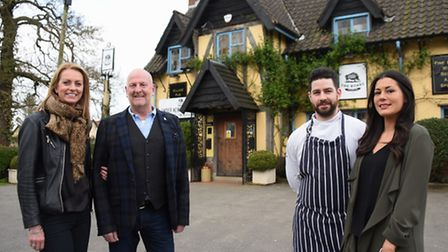 The new owners of the Boars at Spooner Row, Clare and Russell Evans, with general manager, Laura Bir