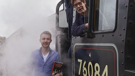 Railway Children actor Ryan Starling with Linda Ovenden and Mike Watkins at the North Norfolk Railwa