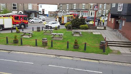 Two people taken to hospital after crash outside the Fat Cat Brewery Tap pub. Picture Tylar-Kain Col