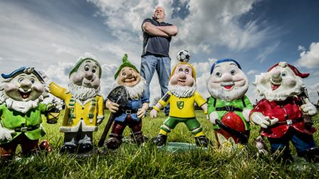 Hilgay butcher Ali Dent is collecting gnomes for charity raising funds for the Norfolk Hospice. Pict
