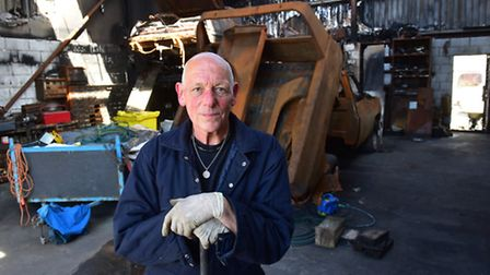 Keith Burton from Lowestoft Touring Caravans is left clearing-up his business after a devastating fi