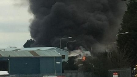 A view of the fire at South Lowestoft Industrial Estate. Picture: Andy Lloyd
