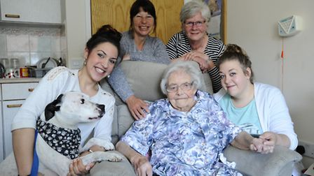 103 year old Gladys Reid (centre) pictured with her family from left Harley the dog, Emma Ruscoe, St