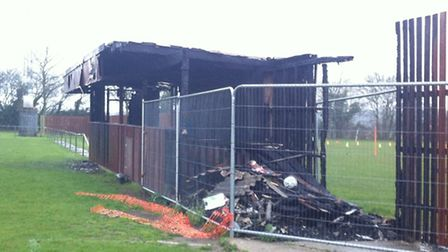 A fire has destroyed a spectator stand at Watton Sports Centre.