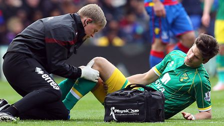 Timm Klose left Selhurst Park on crutches after a first half exit in Norwich City's 1-0 Premier Leag