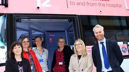 First Eastern Counties has bought some new buses. Pictured: Some staff from the N&N with Steve Wicke