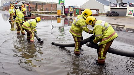 Emergency services attending the scene of major flooding around the Southgates Road area of Great Ya