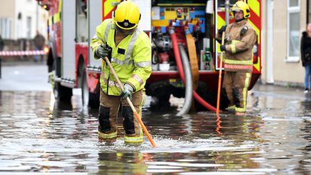 Emergency services attending the scene of major flooding around the Camden Road area of Great Yarmou