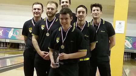 Norfolk's under-25 men's team won gold at the inter-county U25 tournament, from left to right, Karl