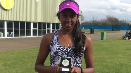 Monica Raviraj after finishing as runner-up in the 14U girls doubles at the Notts Junior Open.