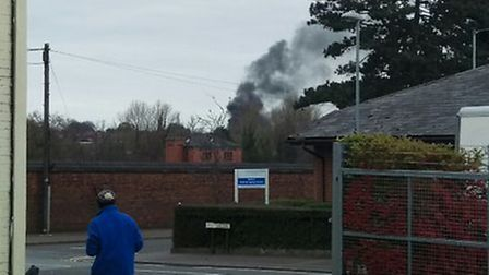 Dark smoke filled the sky after the vehicle fire on Drayton Road.
