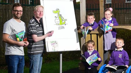 Author Todd Henderson, left, and illustrator James McNulty visit Mile Cross Primary School to launch