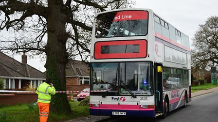 Tree branch on Norwich Road in Costessey which has crashed through the top deck of a First bus. Pict