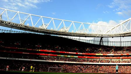 A general view of the Emirates Stadium from Norwich City's last Premier League match at Arsenal, a 4