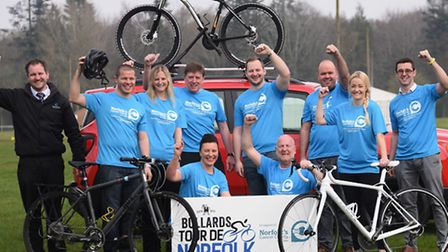 Cyclists get together to launch the Bullards Tour de Norfolk cycling event in aid of the Big C, with