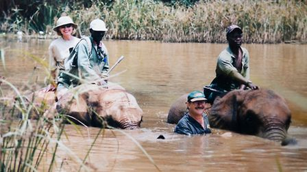 Collect image of Peter working in Africa.Peter Pocket who had his leg amputated after getting Malari