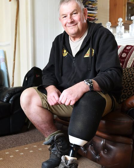 Peter Pocket from Martham who had his leg amputated after getting Malaria whilst working as a guide