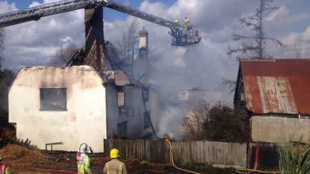 Thatched cottage fire at Hoxne. Picture: SONYA DUNCAN