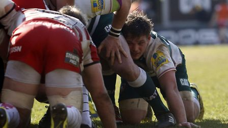 Will Evans in action for Leicester Tigers on his debut, in an Aviva Premiership clash with Glouceste