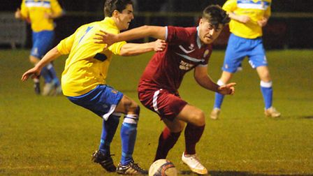 Action from the Thurlow Nunn League Challenge Cup semi-final Norwich United V Kirkley & Pakefield. P