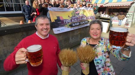 The 2016 Norwich City of Ale event is launched at the Sir Garnet by co-chairs Dawn Leeder and Phil C