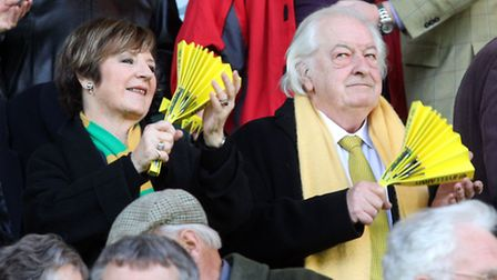 Norwich City's Joint Majority Shareholder Delia Smith and husband Michael Wynn-Jones join in with th