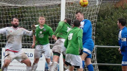 Gorleston, green, and Kirkley, blue, are back in action today. Picture: DAVID HARDY